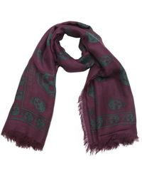 Alexander McQueen Purple And Green Woven Skull Print Scarf - Lyst