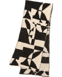 By Malene Birger Knit Work Of Art Asunho Scarf Blackcream - Lyst