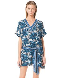 MICHAEL Michael Kors Belted Paisley Cover-Up Tunic - Lyst