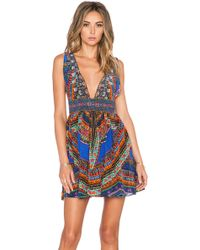 Camilla V Neck Short Dress blue - Lyst