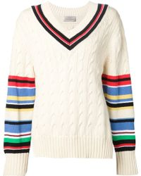 Preen Striped Cable Knit Sweater multicolor - Lyst