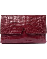Vince - Medium Red Croc-embossed Leather Clutch Bag - Lyst