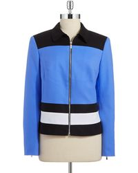 Jones New York Blue Colorblock Jacket - Lyst