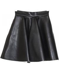 MSGM Black Eco Leather Wheel Skirt black - Lyst