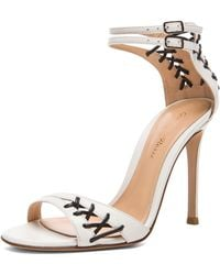 Gianvito Rossi Stitched Ankle Strap Leather Heels - Lyst