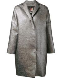 MSGM Silver Oversized Coat - Lyst