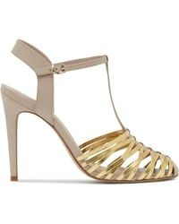 Reiss T-Strap Sandals - Marcie Woven High Heel gold - Lyst