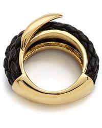 Alexis Bittar Orbiting Leather Ring  Blackgold - Lyst