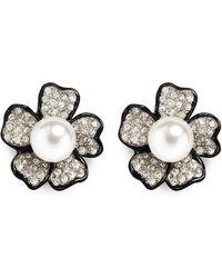 Kenneth Jay Lane - Crystal Pavé Flower Stud Earrings - Lyst