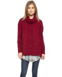 Free People Complex Cable Pullover - Deep Red Combo - Lyst