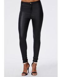 Missguided Pu Coated High Waist Skinny Jeans Black - Lyst