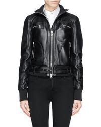 Alexander McQueen Adjustable Belt Leather Bomber Jacket black - Lyst