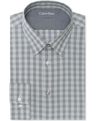 Calvin Klein X Extra-slim Silver Checked Dress Shirt - Lyst