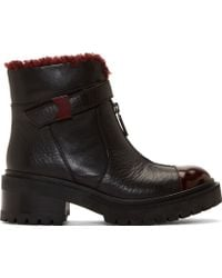 Kenzo Black and Burgundy Leather Zip_up Combat Boots - Lyst
