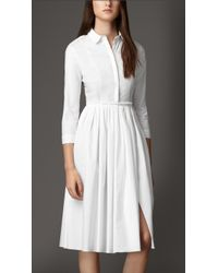 Burberry Skirted Stretch-Cotton Shirt Dress - Lyst