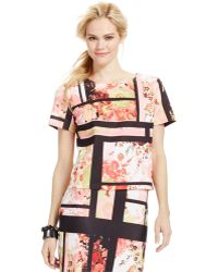 Eci Paneled Floral-Print Top - Lyst