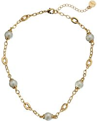 Lauren by Ralph Lauren Bar Harbor 18 Small Oval Link and Pearl Stations W Ring and Toggle Necklace - Lyst