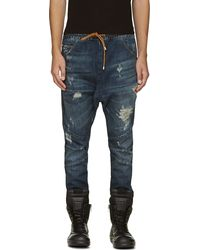 Pierre Balmain Dark Blue Distressed Jogger Jeans - Lyst