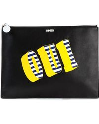 Kenzo Black Oui Non Leather Pouch - Lyst