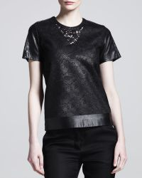 Reed Krakoff Lace  Leather Tshirt - Lyst
