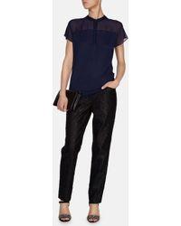 Karen Millen Sheer Panelled Tshirt - Lyst