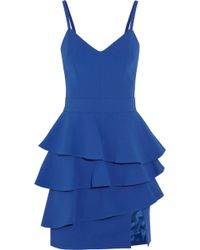 Emanuel Ungaro Ruffled Crepe Peplum Mini Dress - Lyst
