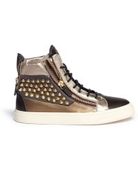 Giuseppe Zanotti Stud Embellished Metallic Sneakers - Lyst