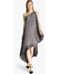 Halston Asymmetric Printed Gown - Lyst