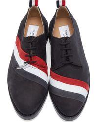 Thom Browne Black Nubuck Tricolore Derby Shoes - Lyst