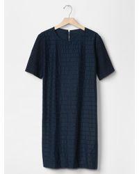 Gap Eyelet-Stripe Shift Dress - Lyst