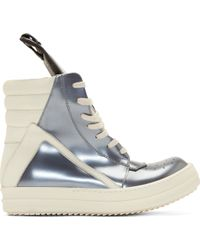 Rick Owens Silver Leather Geobasket High_Top Sneakers - Lyst