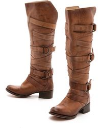 Freebird By Steven Ojai Tall Wrap Strap Boots Tan - Lyst