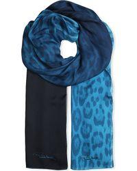 Roberto Cavalli Leopard Print Silk Scarf Turqouise - Lyst