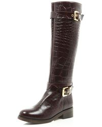 River Island Brown Mock Croc Buckle Trim Riding Boots - Lyst