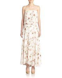 Haute Hippie Strapless Floral-Print Silk Maxi Dress - Lyst