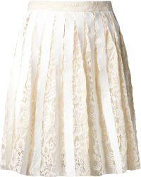 Sea Pleated Lace Skirt - Lyst