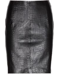 McQ by Alexander McQueen Croc Effect Leather Skirt - Lyst