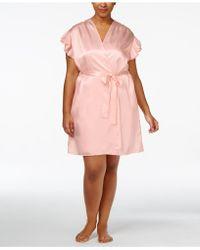 Oscar de la Renta - Plus Size Flutter-sleeve Satin Wrap Robe - Lyst