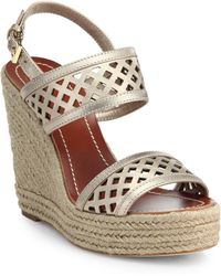 Tory Burch Perforated Metallic Leather Espadrille Wedge Sandals gold - Lyst