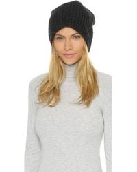 1717 Olive - Cashmere Rib Slouch Beanie Hat - Lyst