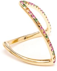 Yvonne Léon 18K Yellow Gold, Sapphire And Tsavorite Ring multicolor - Lyst