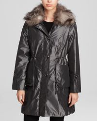 Grayse - Trench Coat With Fur Collar - Lyst
