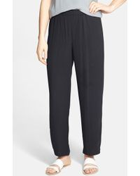 Eileen Fisher Silk Ankle Pants - Lyst