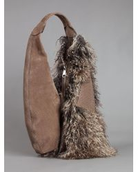 VBH - Snakeskin And Shearling Bag - Lyst