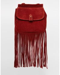 ASOS - Fringed Suede Backpack - Lyst