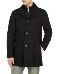 Kenneth Cole Black Mock Neck Wool Blend Coat - Lyst
