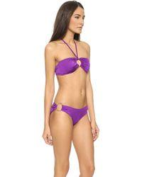 Milly Italian Solid Bandeau Bikini Top - Purple - Lyst