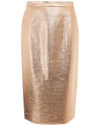 Raoul Gold Metallic Foil Pencil Skirt - Lyst