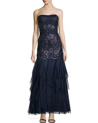 Aidan Mattox Sequin Lace Mermaid Gown - Lyst