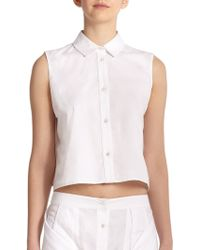T By Alexander Wang Cotton Poplin Button-Down Cropped Top - Lyst